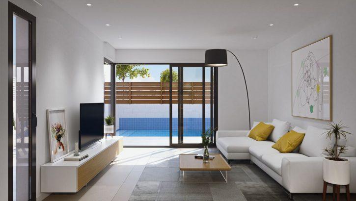 Diese modernen Neubauvillen befinden sich im schönen los Alcazares an der südlichen Costa Blanca.